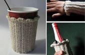 Crochet manchette café