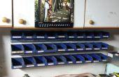Montage de bacs de rangement empilables issus d'anciennes plaques d'immatriculation