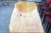 Table extérieure du bord érable dalle en direct