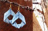 Upcycled Denim boucles d'oreilles DIY tutoriel de bijoux par upmade