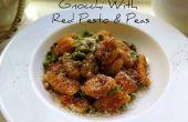 Gnocchi servi avec Pesto rouge et pois