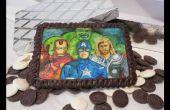 Peinture de super-héros au chocolat comestible