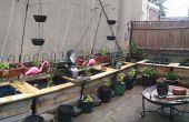 Jardinières en plein air de palettes et barils de pluie