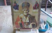 Les icônes religieuses avec support en bois