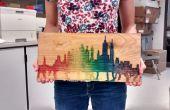 Art de mur en bois l'eau couleur Skyline arc-en-ciel
