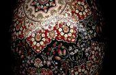 Oeuf de Pâques de Kerman étoiles d'autruche Pysanky Batik