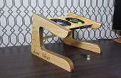 Socle d'ordinateur portable de bois recyclées conçu sur mesure.