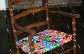 Réorganisé le rocking-chair avec rubans moustiquaire réutilisés.
