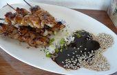 Satay de pétoncles de mer avec Sauce d'arachides noix de coco