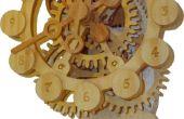 Une horloge de bois gear avec un mécanisme d'entraînement unique