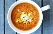 Soupe de tomates rôties avec des pois chiches et Couscous israélien de feu