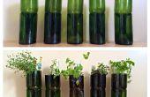 Bouteilles de vin upcycled en jardinières d'herbes à l'intérieur