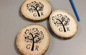 Une sérigraphie de bricolage sur bois russes pour cadeau de mariage