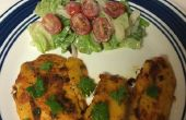 Beer battered Fish fry avec salade laitue et tomate cerise