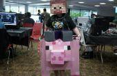 Steve équitation un cochon costume d'halloween en carton Minecraft