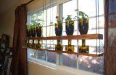 Hanging Upcycled vin bouteille planteur étagères
