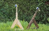 Catapulte faite avec spatules et bandes de caoutchouc