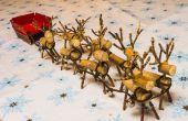 Miniature en bois Rennes et traîneau