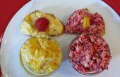 Crostini de beurre de mangue fraîche et les framboises
