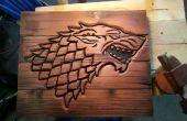 Crête de la maison Stark de bois corbeille