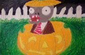 Comment dessiner (Plants vs Zombies) Zombie assis dans une citrouille.