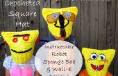 Crochet chapeau carré - Robot Instructable, Sponge Bob & WALL-E