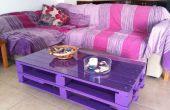 Table basse palette en bois sur roues pour salon