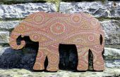 MDF Afrique peint Decor Elephant