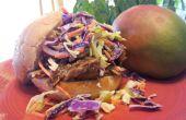 Aucune fumée de porc n'effiloché à la Sauce BBQ Mango avec salade de chou assaisonnée Orange