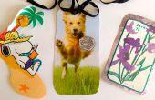 Etiquettes cadeaux de cartes recyclées et canettes de relief