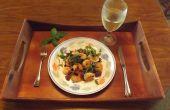 CREVETTES à l'ail avec jambon, poivron vert & OLIVES noires