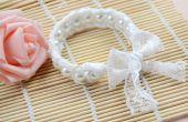 Conception de bijoux de mariage-comment faire un Bracelet manchette de dentelle perle blanche pour la mariée