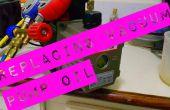 Remplacement huile pompe à vide de réfrigération.