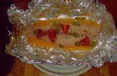 Gourmet barbecue avait poché les filets de poisson mangue fraise