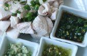Pochée de poitrines de poulet aux trois Sauces à trempette