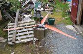 Lames de tuyau PVC et rotor pour HAWT dans des chutes.