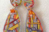 Lait bouteille boucles d'oreilles avec des conceptions timbrées et couleurs