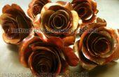 Sculpture art, cuivre et acier de Roses en métal