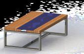 Bois Table de verre avec LED