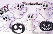 4 fantômes spumeux ou EVA pour l'Halloween   DIY  ---4 Fantasmas de Foamy para d'eva de o goma Halloween   BRICOLAGE  