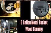 5 gallons, seau en métal, bois, poêle de Camping