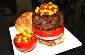 Le Burger moléculaire w / Ketchup et moutarde Caviar