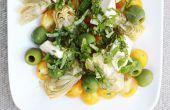 Tomate doré, Vert Olive, artichauts et Mozzarella salade