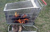 Puits du feu portable avec construit en rack de stockage de journal.