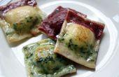Gluten-Free tricolore Ravioli avec courge musquée rôtie, pois chiches, l'ail rôti et oignons caramélisés