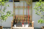 Rack d'outil de jardin avec banc pliable