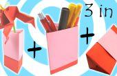 Vase en origami, porte-stylo et coffret (3 modèles en 1 tutoriel)