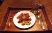 Noix de pécan fumé saucisson & crevettes dans une SAUCE à la moutarde créole avec poivrons & oignons