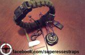 Bracelet en paracorde avec Kit de survie : créez votre Bug sur d'urgence sur Bracelet équipé d'une trousse de premiers soins, allume-feu, fournitures de pêche, outils, boussole, couteau et plus encore.