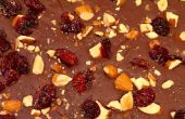 Bittersweet chocolat écorce avec fumé sel marin, rôti de Cranberries amandes & secs